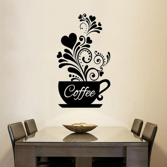 Coffee Cup Wall Art Mural Removable PVC Wall Decal For Kitchen Wall Cafe Decor DIY Creative Coffee Shop Decor Wall Art Decal For Coffee Room