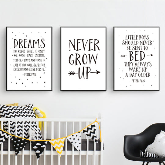 Happy Quotes Nordic Nursery Wall Art Inspired By Kids Cartoon Characters Black White Dreams Bed Never Grow Up Kids Nursery Quotations Wall Art