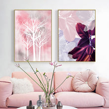 Load image into Gallery viewer, Magical Dream Pink Leaves Woodland Wall Art Purple Flower White Trees Silhouette Abstract Floral Nordic Fine Art Canvas Prints Modern Decor
