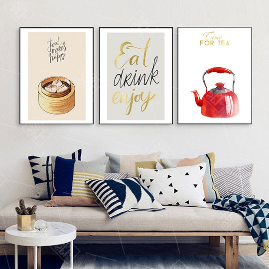 Eat Drink Enjoy Food Makes Me Happy Time For Tea Wall Art Kitchen Posters Fine Art Canvas Prints Colorful Restaurant Wall Decor