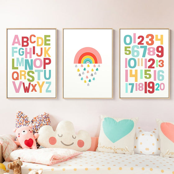 Colorful Cute Rainbow Alphabet Nursery ABC Posters Fine Art Canvas Prints Nordic Style Wall Art Pictures For Baby's Room Kids Room Wall Decor