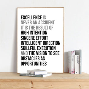 Definition Of Excellence Black and White Wall Art Poster Motivation Quotations Letter Art Fine Art Canvas Prints For Home Office Wall Decor