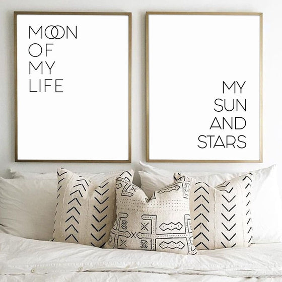 Moon Of My Life My Sun And Stars Quotations Wall Art Black And White Minimalist Nordic Fine Art Canvas Prints Pictures Above Bed Bedroom Wall Art