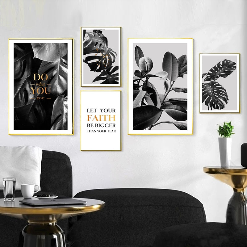 Black White Gold Tropical Leaves Do What You Love Minimalist Quotation Nordicwallart Com