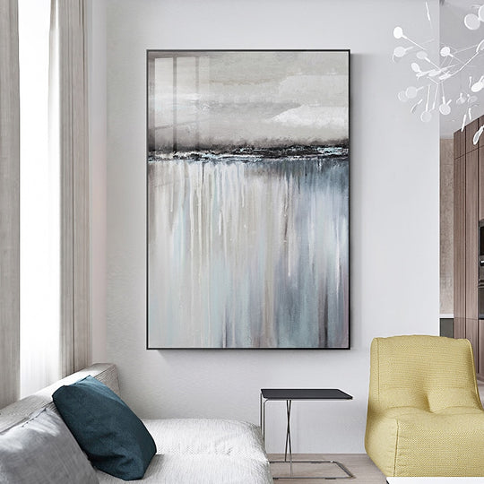 . Nordic Abstract Oblong Vertical Wall Art Colorful Subdued Summer Hues Fine  Art Canvas Prints Scandinavian Style Modern Home Interior Decor
