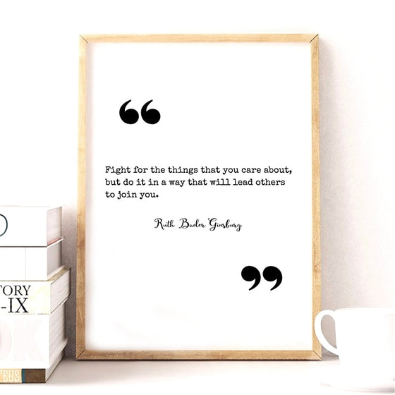The Notorious RBG Ruth Bader Ginsberg Famous Quotation Black White Wall Art Fine Art Canvas Print Minimalist Inspirational Motivational Posters Wall Art Decor