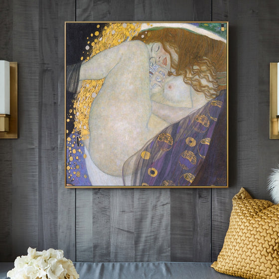 Famous Artists Gustav Klimt Wall Art Portrait Of Danae Fine Art Canvas Giclee Print Classic Painting Quintessential Symbol Of Divine Love