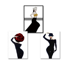 Load image into Gallery viewer, Belle Luxury Glamour Fashion Models Salon Art Posters Nordic Style Red Black Gold Boutique Decor Fine Art Canvas Prints For Modern Home Decor