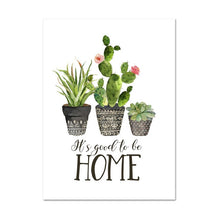 Load image into Gallery viewer, Home Sweet Home Cactus Plant Pots Botanic Wall Art Fine Art Canvas Prints Nordic Style Pictures For Living Room Kitchen Dining Room Decor
