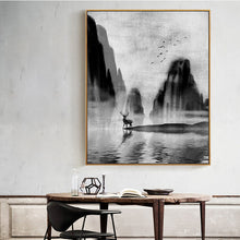 Load image into Gallery viewer, Abstract Forest Water Wildlife Landscape Canvas Painting Nordic Wall Art Black White Poster Print Modern Art For Living Room Home Decor