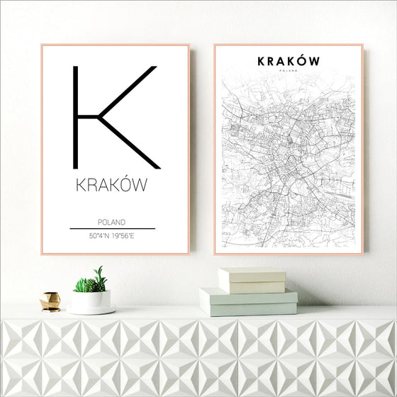 Krakow City Map Art Minimalist Typographic Design Poland Wall Art Poster Fine Art Canvas Print Pictures For Modern Office Home Interior Decor