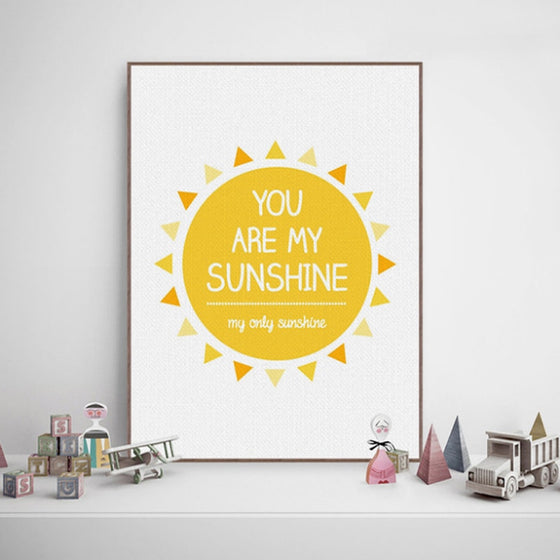 You Are My Sunshine Quotation Wall Art Happy Bright Yellow Sun Fine Art Canvas Print Minimalist Nordic Style Modern Home Interior Decor