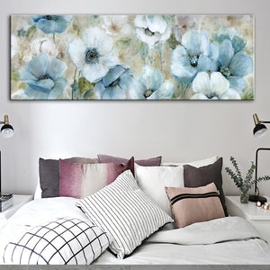 Contemporary Floral Wide Format Wall Art Oil Painting Modern Colorful Abstract Fine Art Canvas Prints Living Room Bedroom Home Decor
