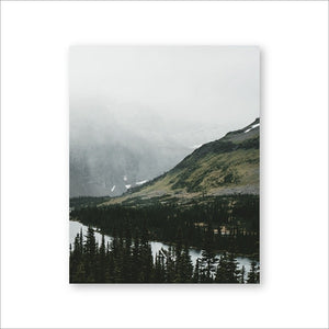 Misty Mountain Forest Lake Wilderness Landscape Wall Art Fine Art Canvas Prints Peaceful Nature Pictures For Office Or Home Living Room Wall Decor