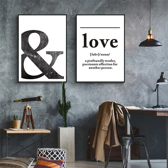Love And Ampersand Black And White Minimalist Quotation Wall Art Simple Definition Of Love Fine Art Canvas Prints Pictures For Nordic Style Home Decor