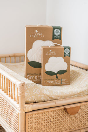 Organic Smart-Dri Waterproof Mattress Protector - Bassinet Size Living Textiles
