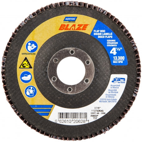 Norton 4-1/2 X 5/8-11 Blaze Type 27 High Density 60 Grit R980P Flap Disc #66261096435