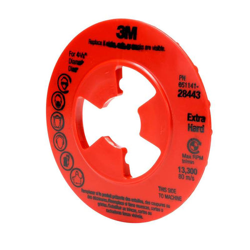 10-Pk 3M Disc Pad Face Plate Ribbed 28443, 4-1/2 In Extra Hard Red