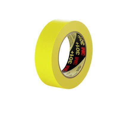 12-PK 3M Performance Yellow Masking Tape 301+, 36 mm x 55 m 6.3 mil