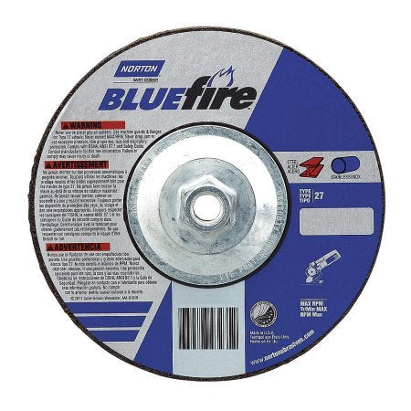 10-Pk Norton Bluefire Fastcut Grinding Wheel T27 6 In X 1/8 In X 5/8-11