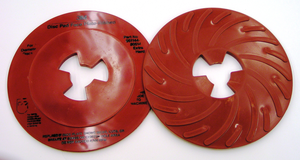 10-Pk 3M Disc Pad Face Plate Ribbed 80514, 7 In Extra Hard Red
