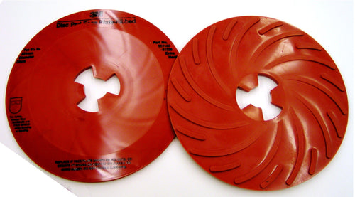 10-Pk 3M Disc Pad Face Plate Ribbed 81728, 9 In Extra Hard Red