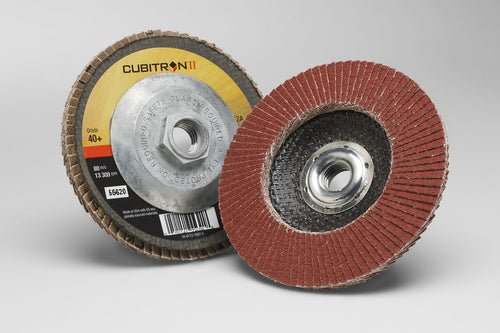 10-Pk 3M Cubitron II Flap Disc 969F, T29 Quick Change, 4-1/2 In X 5/8-11, 60+