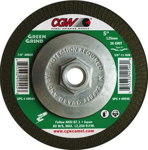 25-Pk CGW Green Grinding Wheel T27 5 In X 5/32 In X 7/8 In 36