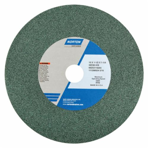 Norton 14 x 2 x 1-1/2 39C60-JVK Surface Grinding Wheel/Includes Plastic Nested Bushing 1-1/4,1 Type 1 #66253319968