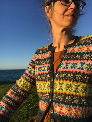 Woman in fairisle cardigan