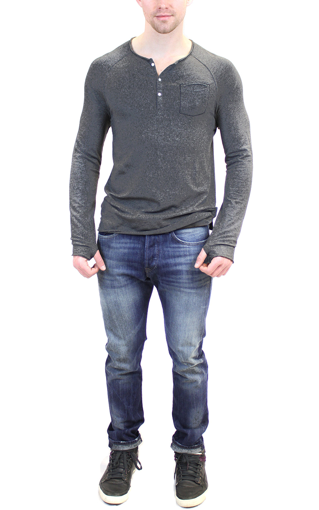 Long Sleeve Raglan Henley | Charcoal