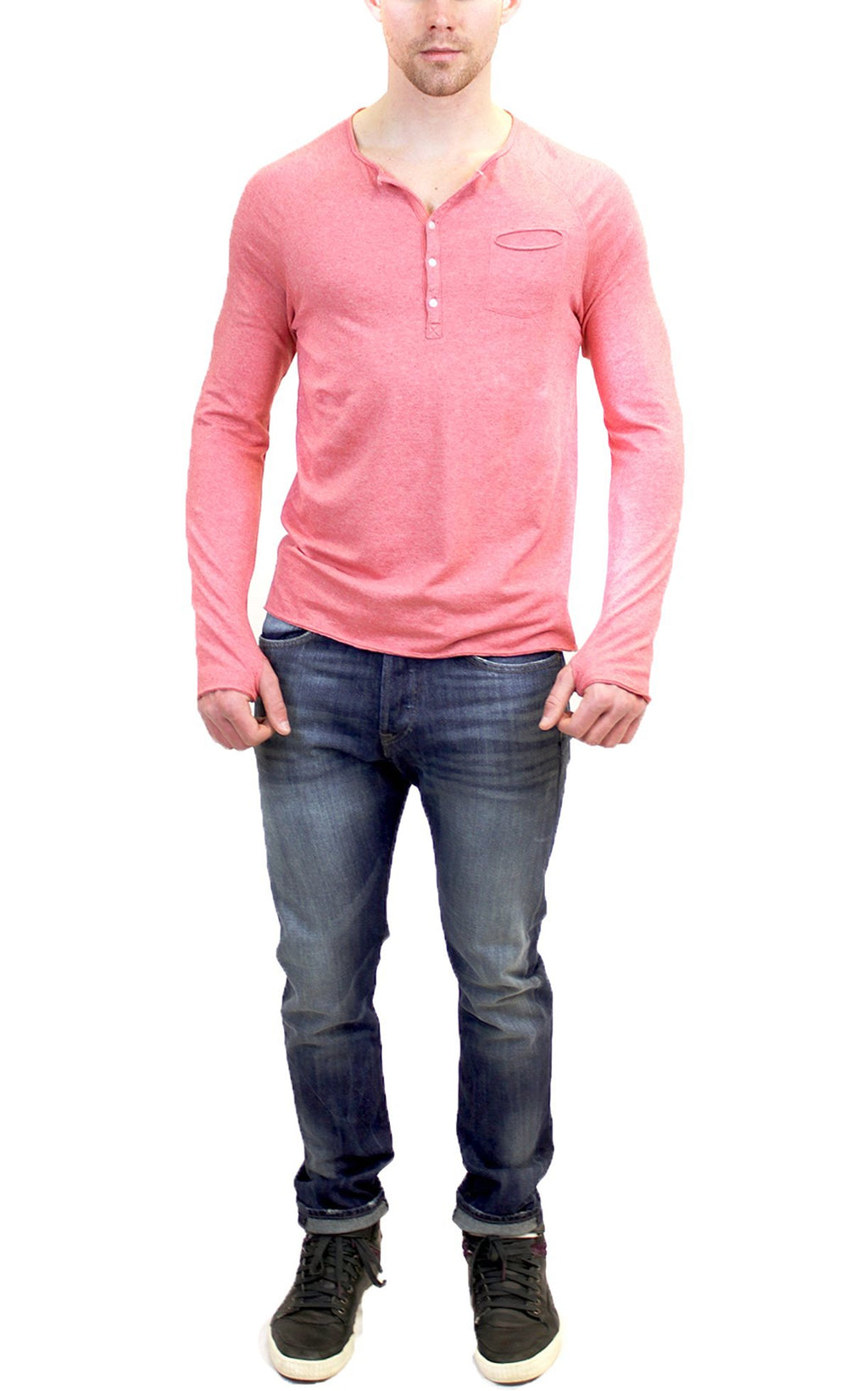 Long Sleeve Raglan Henley | Red