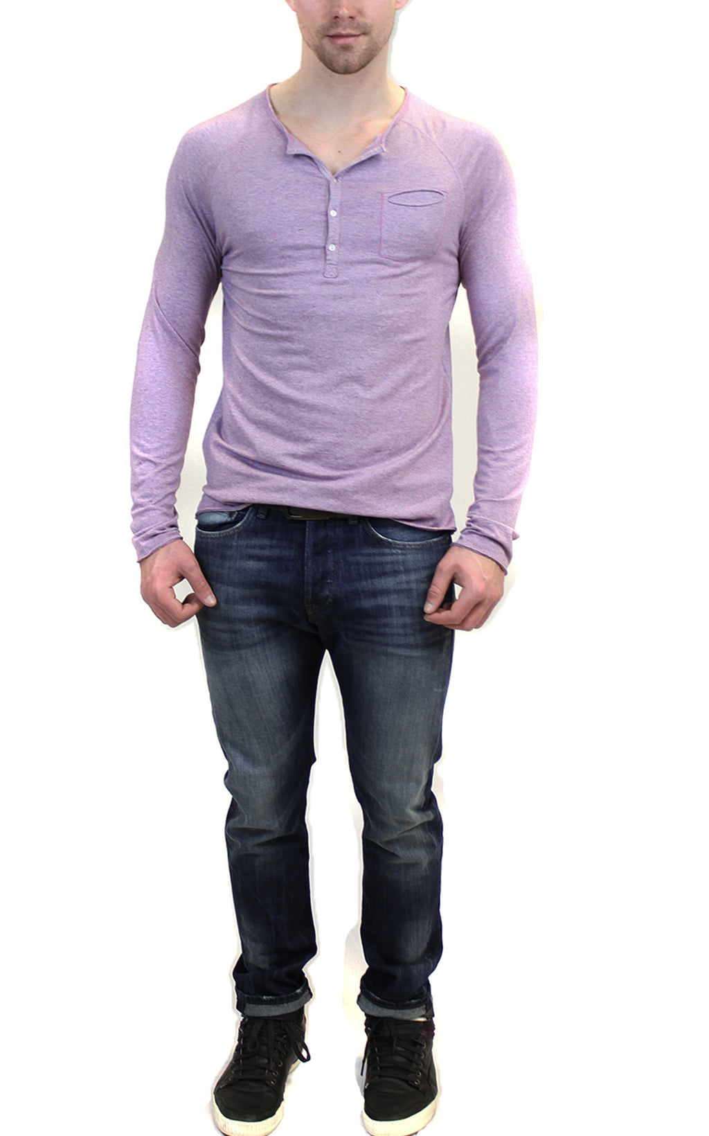 Long Sleeve Raglan Henley | Purple