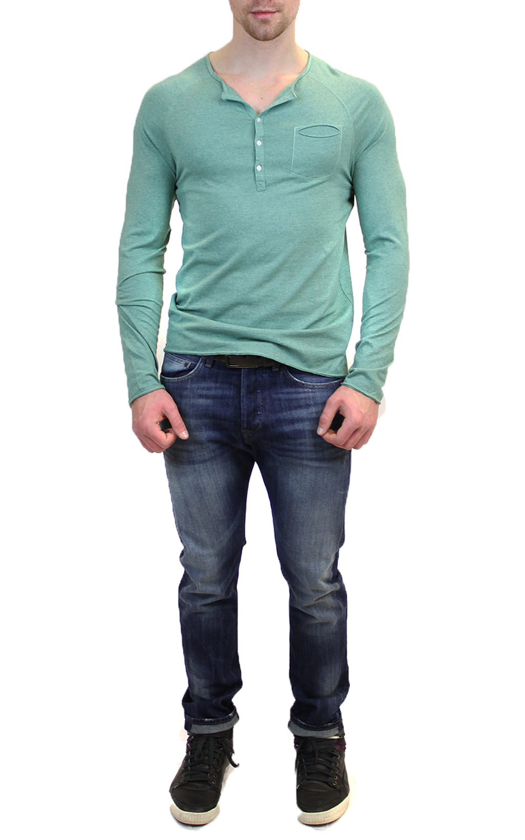 Long Sleeve Raglan Henley | Green
