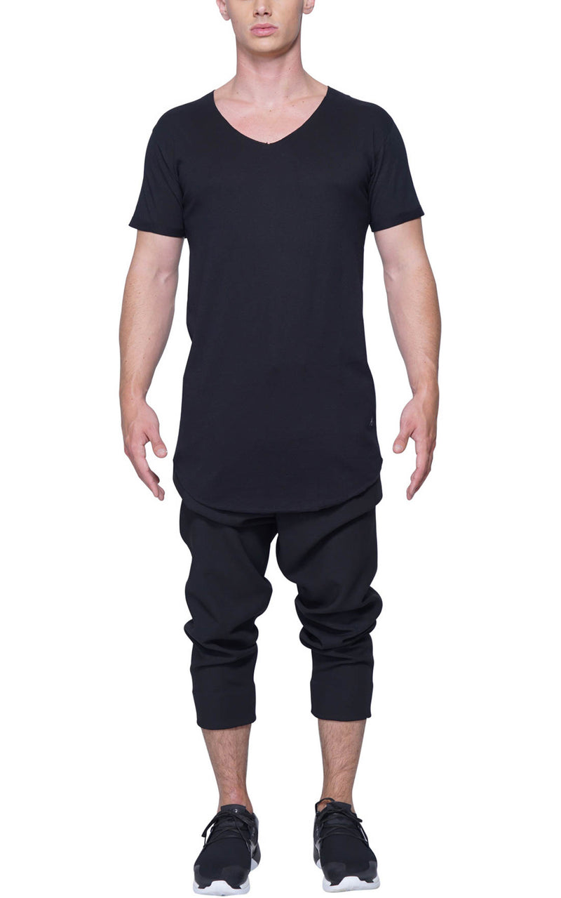 Oversized V Neck Tee | Black