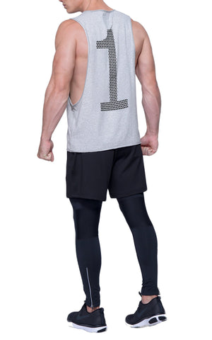 Triangle Pattern Number 1 Gym Cut-Off | Athletic Gray
