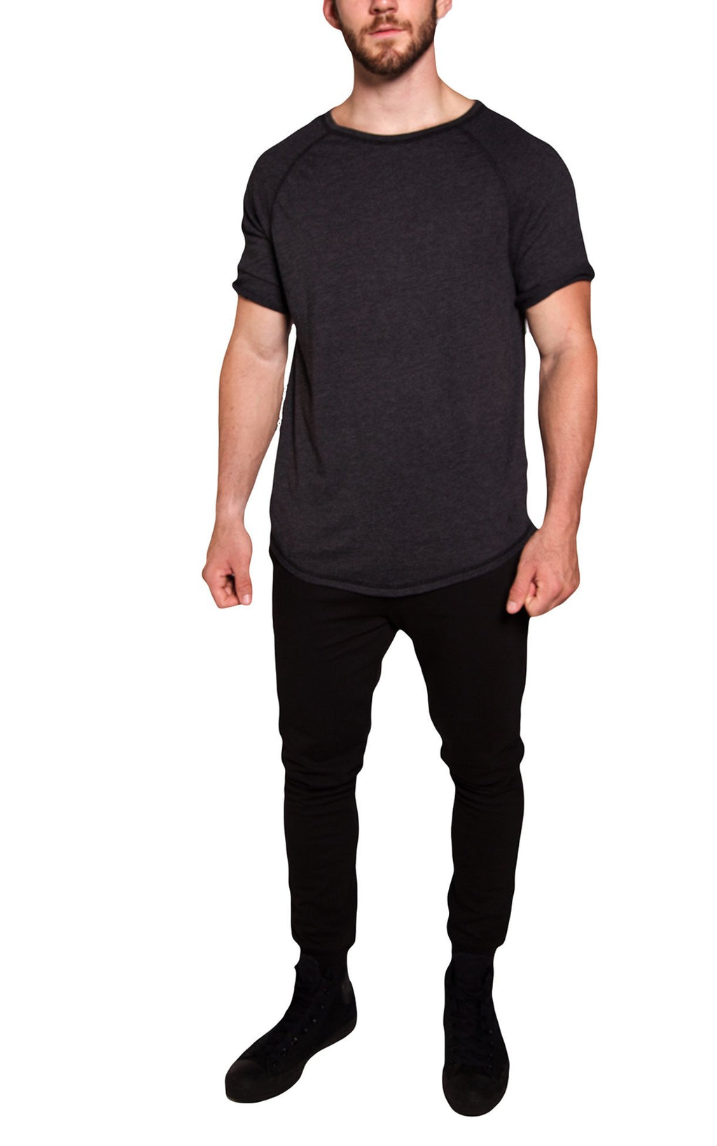 3/4 Sleeve Long Raglan Tee | Charcoal