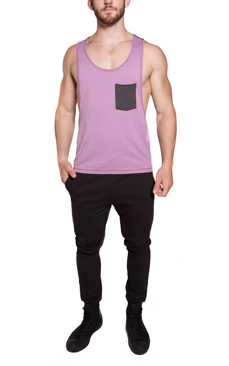 Low-Cut Color Block Tank | Purple