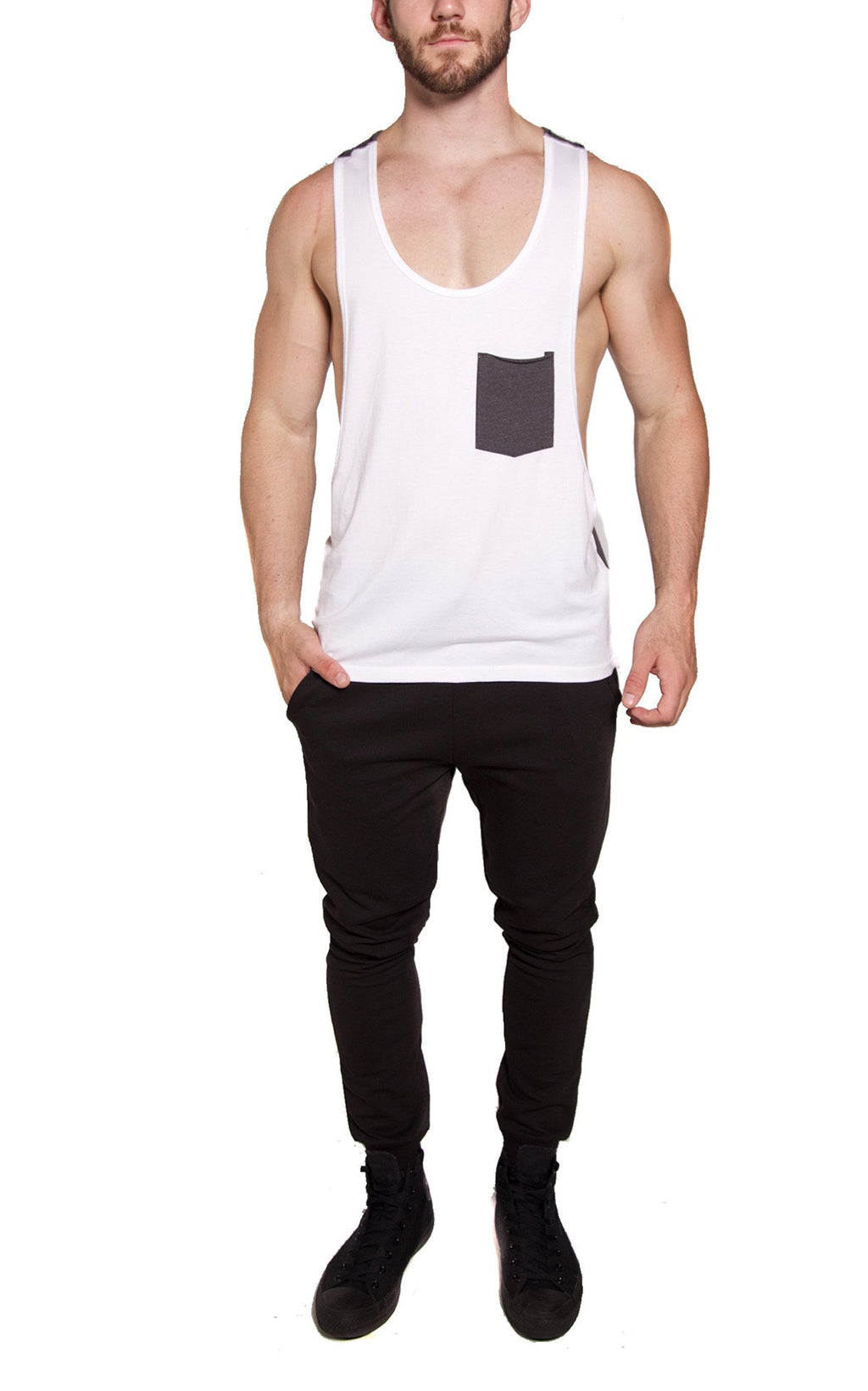 Low-Cut Color Block Tank | White