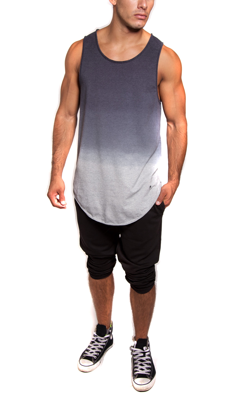 Oversized Long Dip Dye Tank | Athletic Gray
