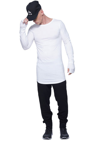 Mesh Back Panel Long Sleeve Tee | White