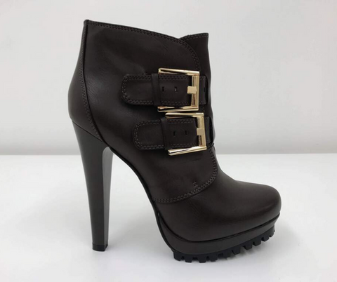 BROWN FAUX LEATHER BUCKLE UP ANKLE BOOTS