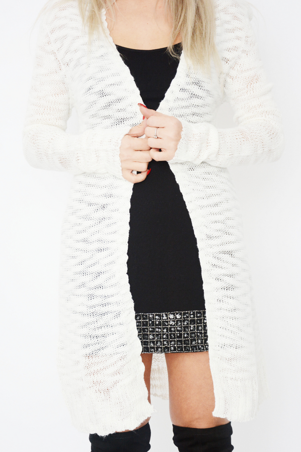 Cream Fine Knit Longline Cardigan