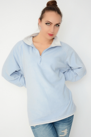 Pale Blue Zip Neck Fleece Top