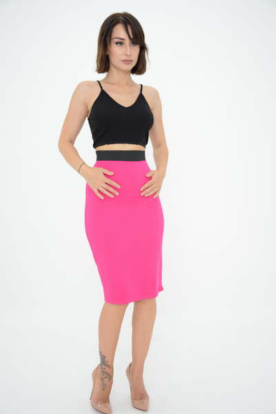Cerise Pink Jersey Pencil Skirt