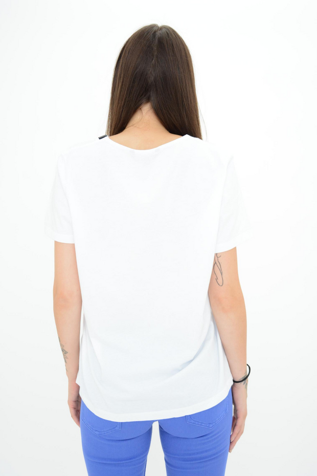 FRENCH CONNECTION WHITE BIRD LOGO EMBELLISHED TEE