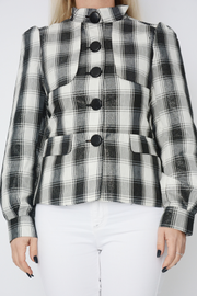 Black Check Shimmer Lightweight Blazer Jacket