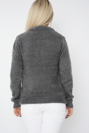 Grey Dog Face Soft Fluffy Knit Jumper