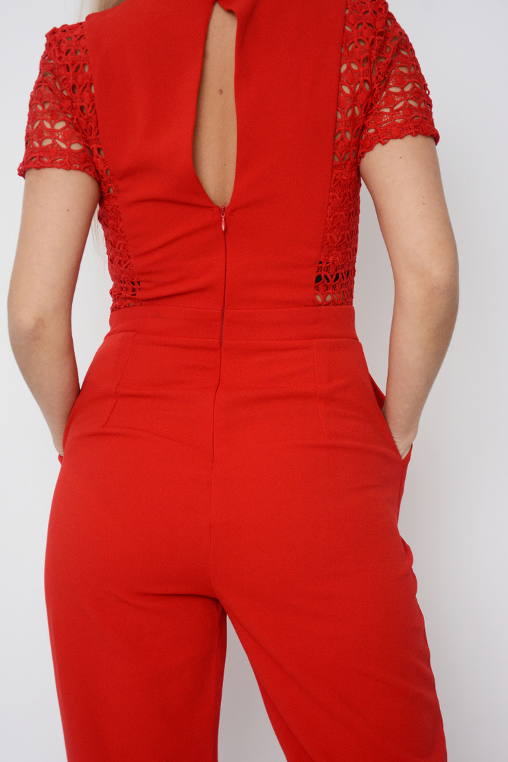Red Lace Straight Leg Tailored Tux Jumpsuit