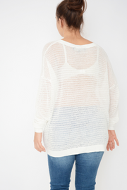 French Connection White Lightweight Jumper